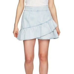 1. State Ruffle Denim Mini Skirt Reef Wash 2
